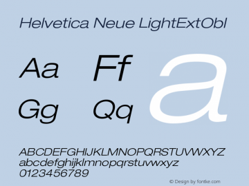 Helvetica Neue LightExtObl Version 001.000图片样张