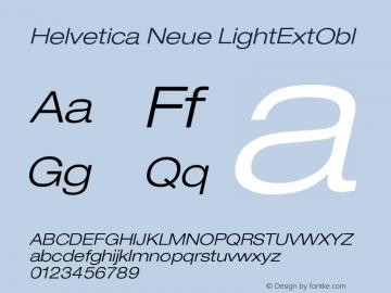 Helvetica Neue LightExtObl Version 001.000 Font Sample