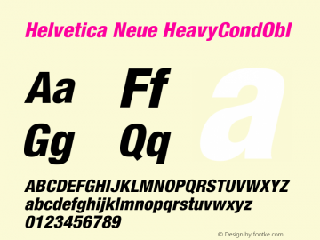 Helvetica Neue HeavyCondObl Version 001.000图片样张