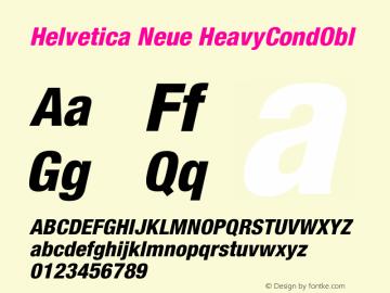 Helvetica Neue HeavyCondObl Version 001.000 Font Sample