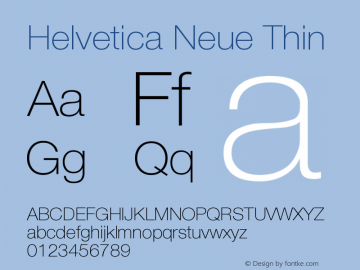 Helvetica Neue Thin Version 001.001图片样张