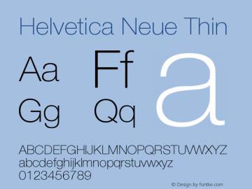 Helvetica Neue Thin Version 001.001 Font Sample