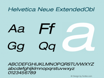 Helvetica Neue ExtendedObl Version 001.000图片样张