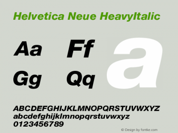 Helvetica Neue HeavyItalic Version 001.101图片样张