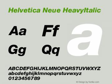 Helvetica Neue HeavyItalic Version 001.101 Font Sample