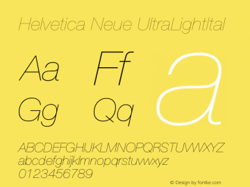 Helvetica Neue UltraLightItal Version 001.102图片样张