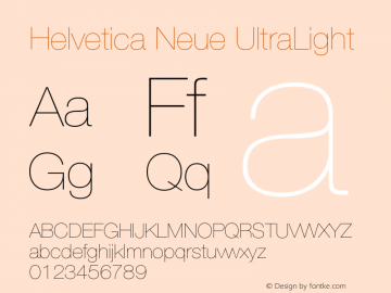 Helvetica Neue UltraLight Version 001.003图片样张