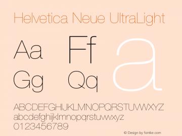 Helvetica Neue UltraLight Version 001.003 Font Sample