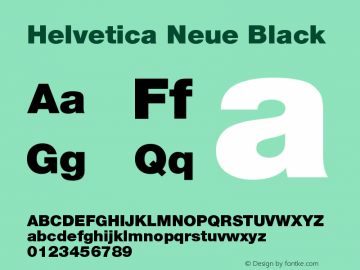 Helvetica Neue Black Version 001.003图片样张