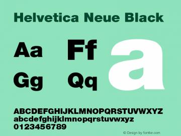 Helvetica Neue Black Version 001.003 Font Sample