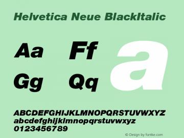 Helvetica Neue BlackItalic Version 001.003图片样张