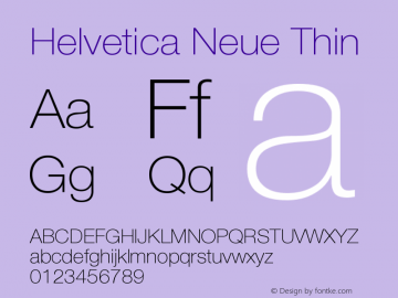 Helvetica Neue Thin Version 001.003图片样张