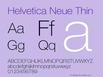 Helvetica Neue Thin Version 001.003 Font Sample