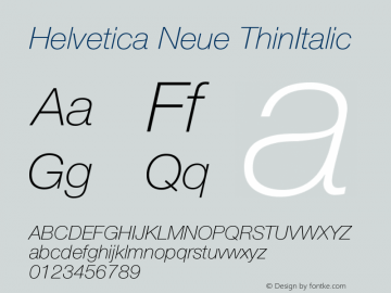 Helvetica Neue ThinItalic Version 001.003图片样张