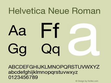 Helvetica Neue Roman Version 001.102图片样张