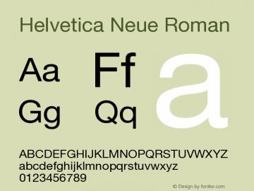 Helvetica Neue Roman Version 001.102 Font Sample