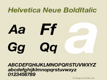 Helvetica Neue BoldItalic Version 001.102图片样张