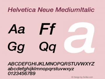 Helvetica Neue MediumItalic Version 001.102 Font Sample