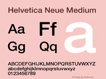 Helvetica Neue Medium Version 001.002 Font Sample
