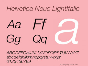 Helvetica Neue LightItalic Version 001.003图片样张