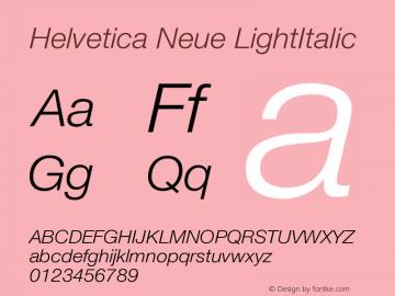 Helvetica Neue LightItalic Version 001.003 Font Sample