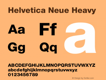 Helvetica Neue Heavy Version 001.002图片样张
