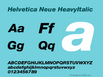 Helvetica Neue HeavyItalic Version 001.102图片样张