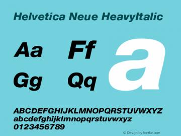 Helvetica Neue HeavyItalic Version 001.102 Font Sample