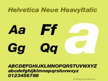 Helvetica Neue HeavyItalic Version 001.000 Font Sample