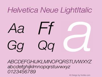 Helvetica Neue LightItalic Version 001.000 Font Sample