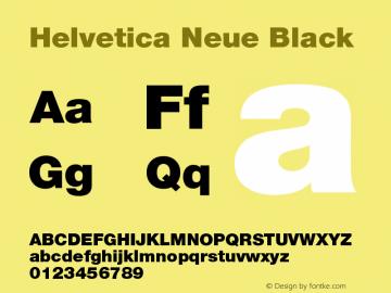 Helvetica Neue Black Version 001.000 Font Sample