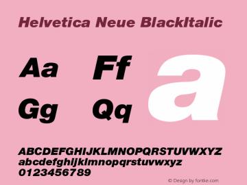 Helvetica Neue BlackItalic Version 001.000图片样张
