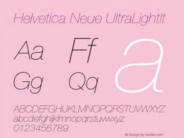 Helvetica Neue UltraLightIt Version 001.000 Font Sample