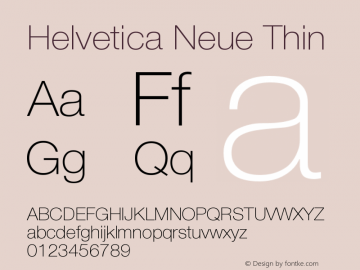 Helvetica Neue Thin Version 001.000图片样张