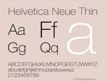 Helvetica Neue Thin Version 001.000 Font Sample