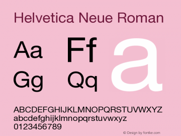 Helvetica Neue Roman Version 001.000 Font Sample