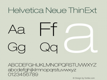Helvetica Neue ThinExt Version 001.000 Font Sample