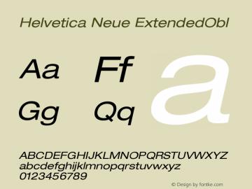 Helvetica Neue ExtendedObl Version 001.000 Font Sample
