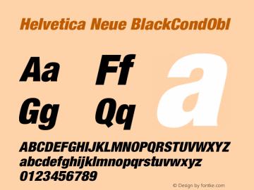 Helvetica Neue BlackCondObl Version 001.000 Font Sample