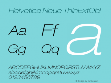 Helvetica Neue ThinExtObl Version 001.000图片样张