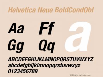 Helvetica Neue BoldCondObl Version 001.000图片样张