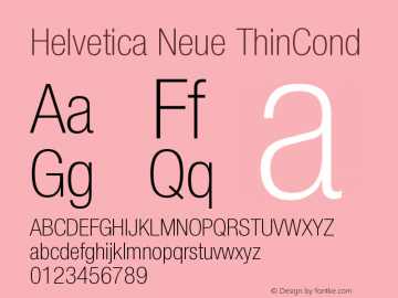 Helvetica Neue ThinCond Version 001.000图片样张