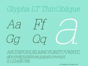 Glypha LT ThinOblique Version 006.000图片样张