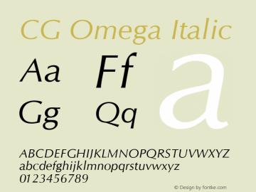 CG Omega Italic Version 1.02a Font Sample