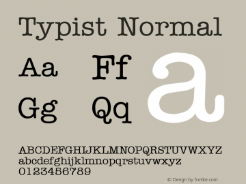 Typist Normal Altsys Fontographer 4.1 5/24/96 Font Sample