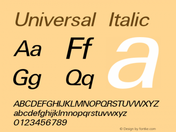 Universal Italic The IMSI MasterFonts Collection, tm 1995, 1996 IMSI (International Microcomputer Software Inc.)图片样张