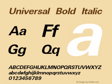 Universal Bold Italic Weatherly Systems, Inc.  6/15/95图片样张