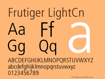 Frutiger LightCn Version 001.000 Font Sample