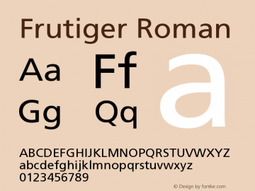 Frutiger Roman Version 001.002 Font Sample