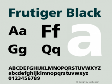Frutiger Black Version 001.000 Font Sample